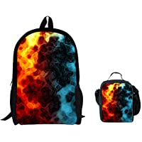 ThiKin Galaxy Print Lunch Bags with Shoulder Straps, Girls Boys Basic for School Trip Same Pattern Backpack Set