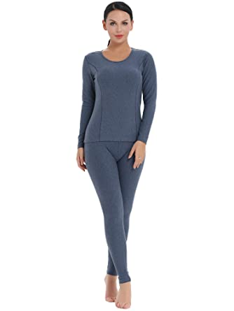 8dbc4348e5ec35 Amorbella Women's Thermal Set Insulated Underwear Microfiber Fleece Lined  Winter Base Layer (Blue, Small