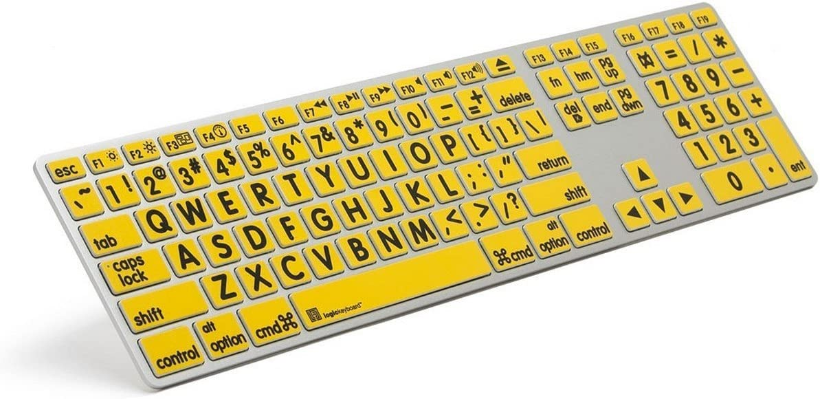Logickeyboard XL Print Black on Yellow Apple Advance Keyboard compatible with Mac Os X v10 or later - Part: LKBU-LPRNTBY-AM89-US