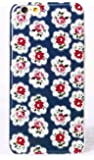 Phone Kandy® Pretty Vintage Floral TPU Soft Shell Case Silicone Cover with Screen Protector (iPhone 5 5s SE, Provence Rose - Blue)