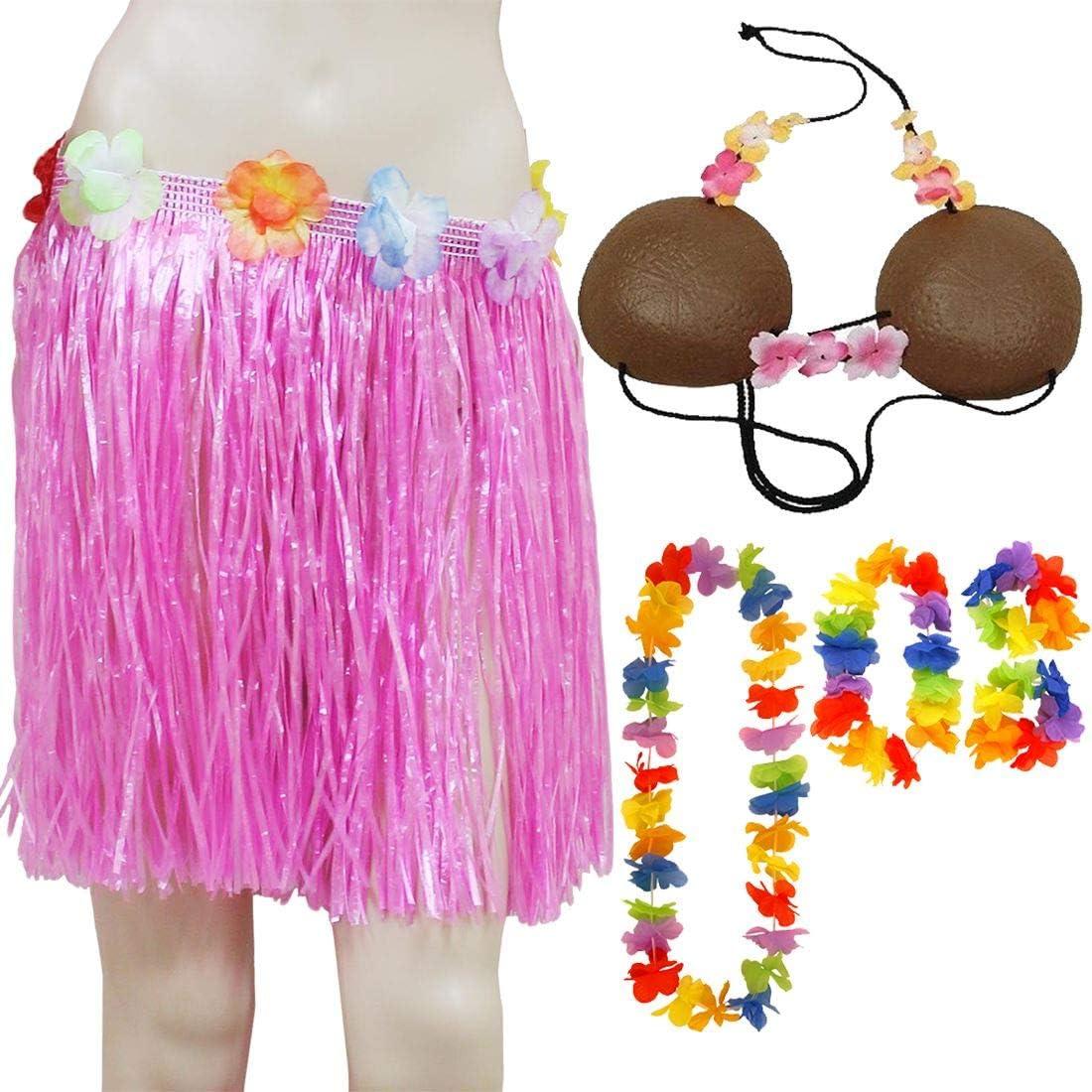 Islander Fashions para Mujer Hawaiana Hula Lei, Juego de 4 Piezas Falda Hula con Flores y Conjunto de Sujetador de Coco