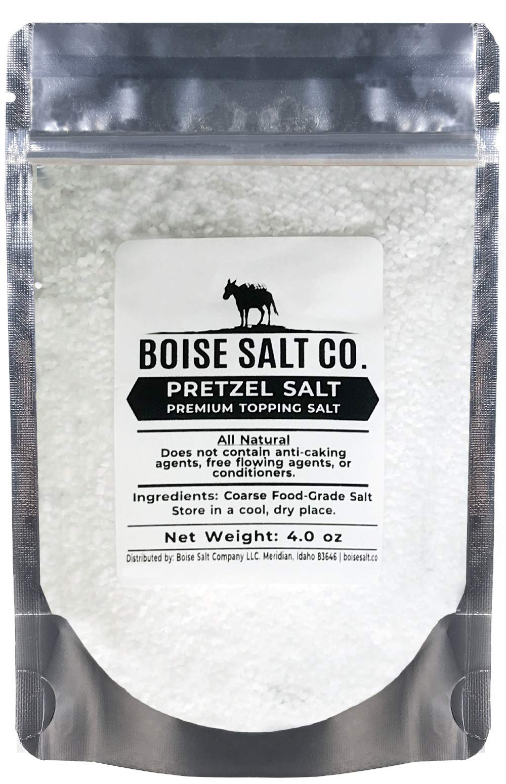 Boise Salt Co. Pretzel Salt – 4 Ounce Resealable Standup Pouch (4 oz)