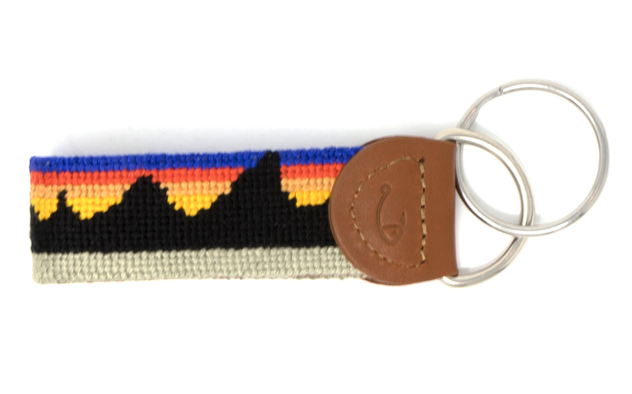 Needlepoint Key Fob & Key Ring by Huck Venture (Mountain Range)