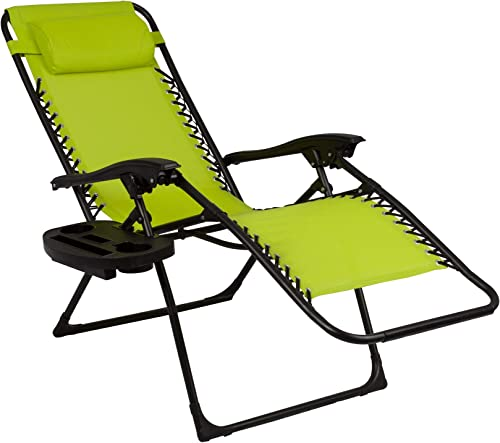 Zero Gravity Lounge Set of 2 Outdoor Reclining Lounge Chairs with Cup Holders Green Color