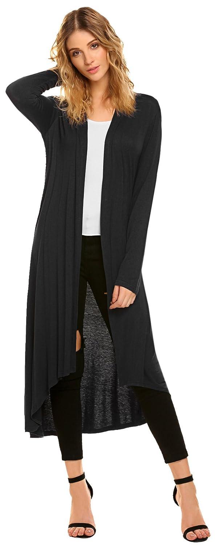 a5f150e7dc0f POGTMM Women s Long Open Front Drape Lightweight Duster High Low Hem Maxi  Long Sleeve Cardigan(S-3XL) at Amazon Women s Clothing store