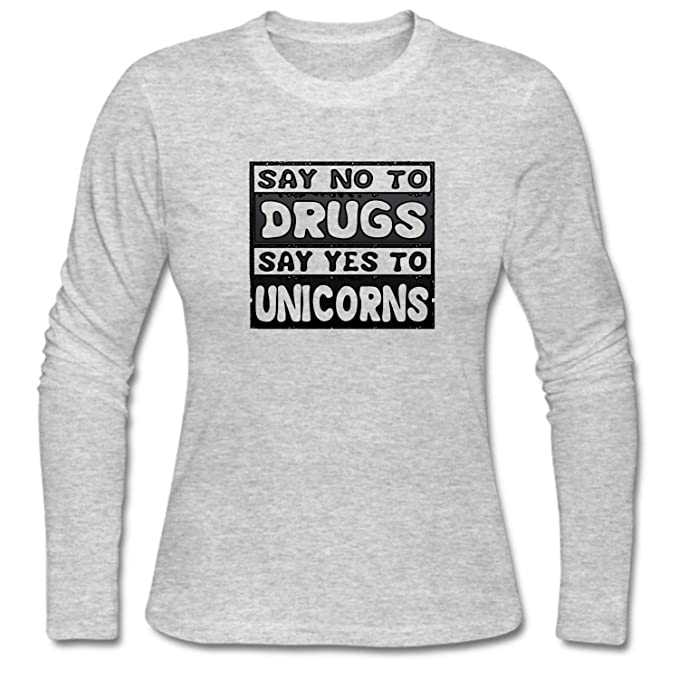 7f30037a7 Image Unavailable. Image not available for. Color  SYBING Women s Say No to  Drugs Say Yes to Unicorns Long Sleeve T-Shirt