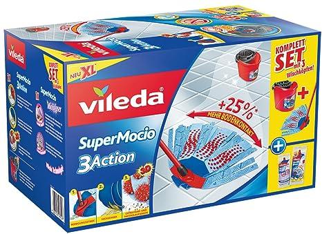 Vileda SuperMocio 3Action XL Wischmop im Komplettset mit Eimer und 3 Wischköpfen
