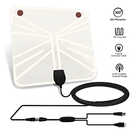 TV Antenna, 50 mile Range Indoor Amplified HDTV Antenna, Detachable Amplifier Signal Booster,