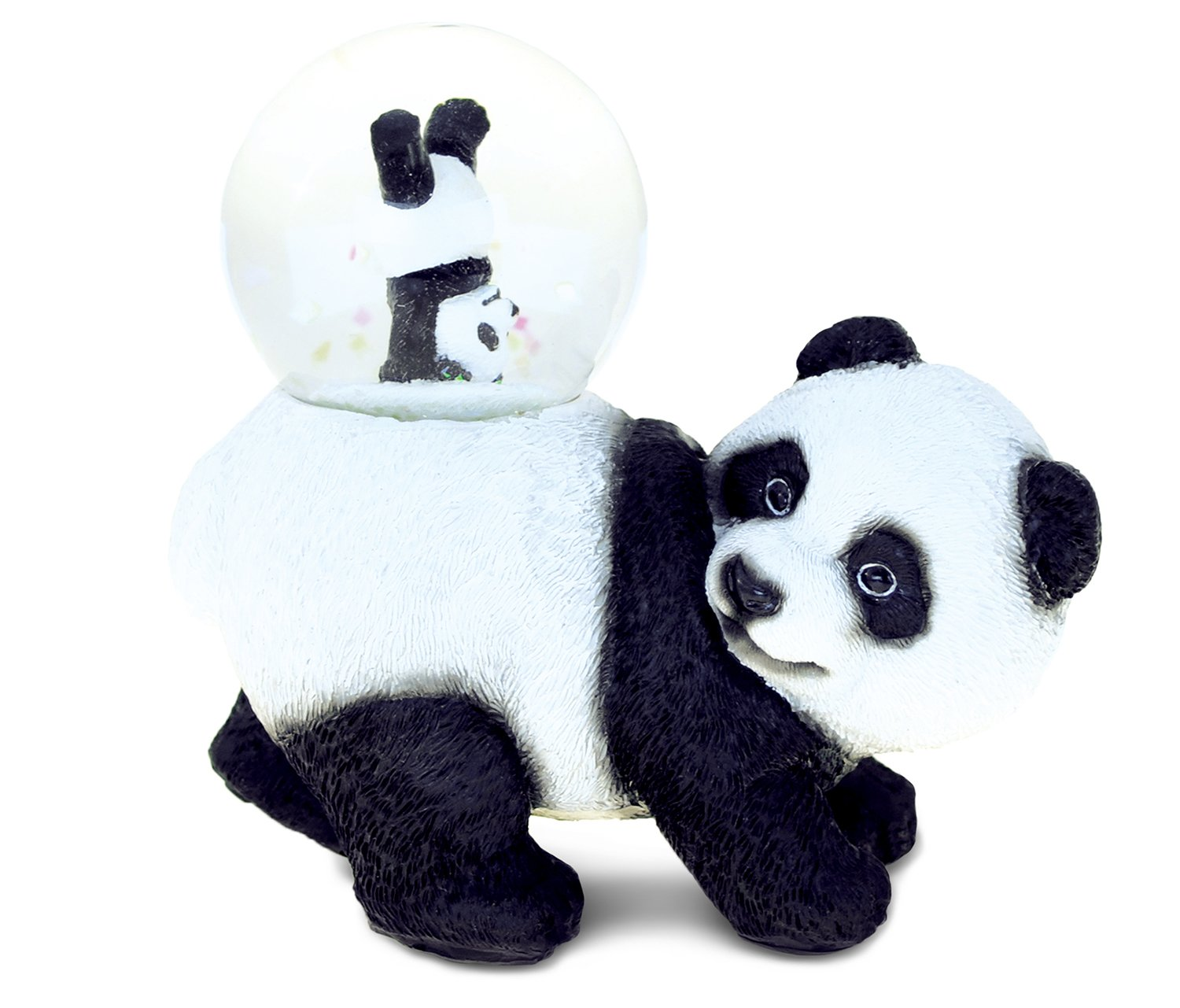Puzzled Panda Snow Globe Mother And Baby Resin Stone Finish Animal Theme Collectibles - Playful Miniature Bear Cub Souvenir 45MM Elegant Figurine Family Friends Gifts - Animals Collection - Item 9468
