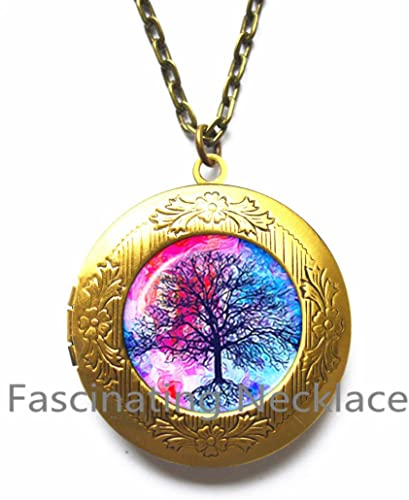 Tree of Life Locket Necklace Tree Locket Necklace BFF Family Locket Necklace Unisex Gift Best Friend Gift,AQ194 Nature Inspired Jewelry Inspirational Gift