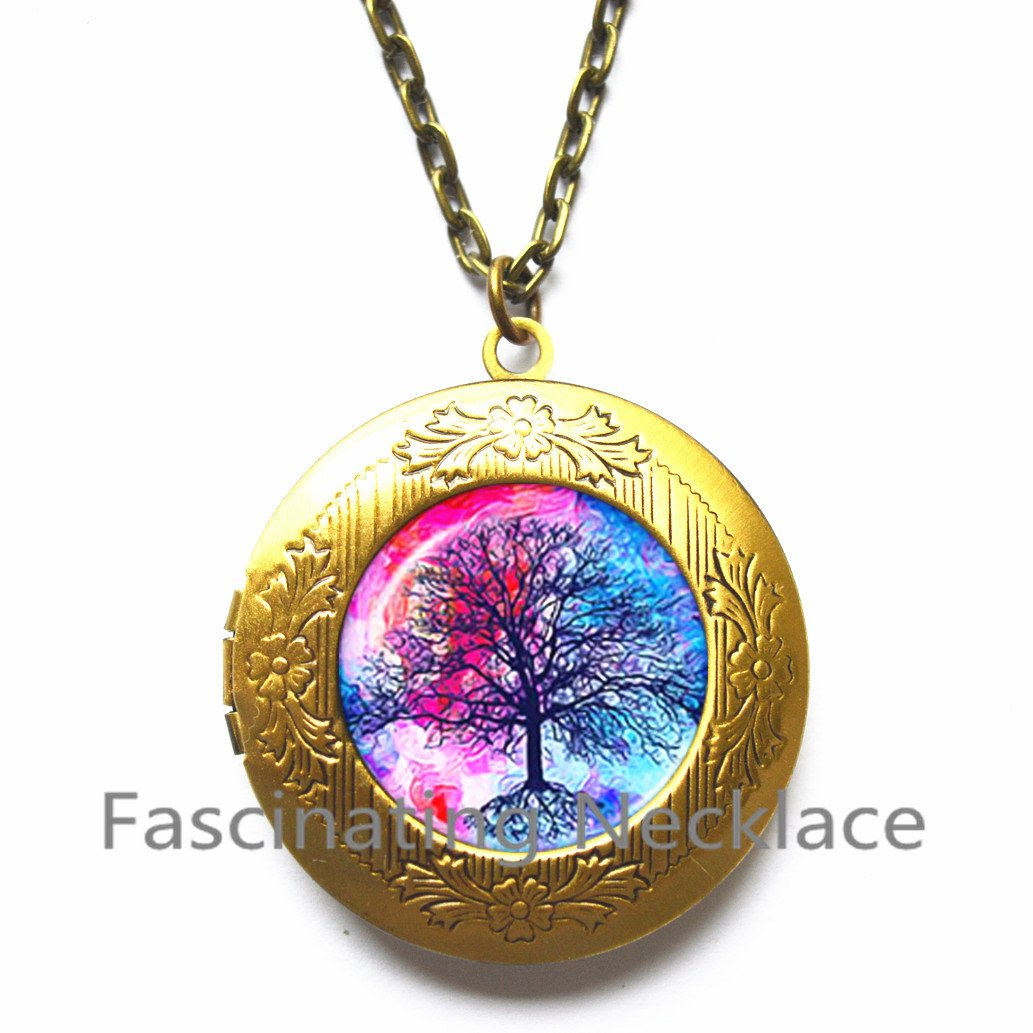 Unisex Gift Tree of Life Locket Necklace Family Locket Necklace BFF Nature Inspired Jewelry Best Friend Gift,AQ194 Tree Locket Necklace Inspirational Gift