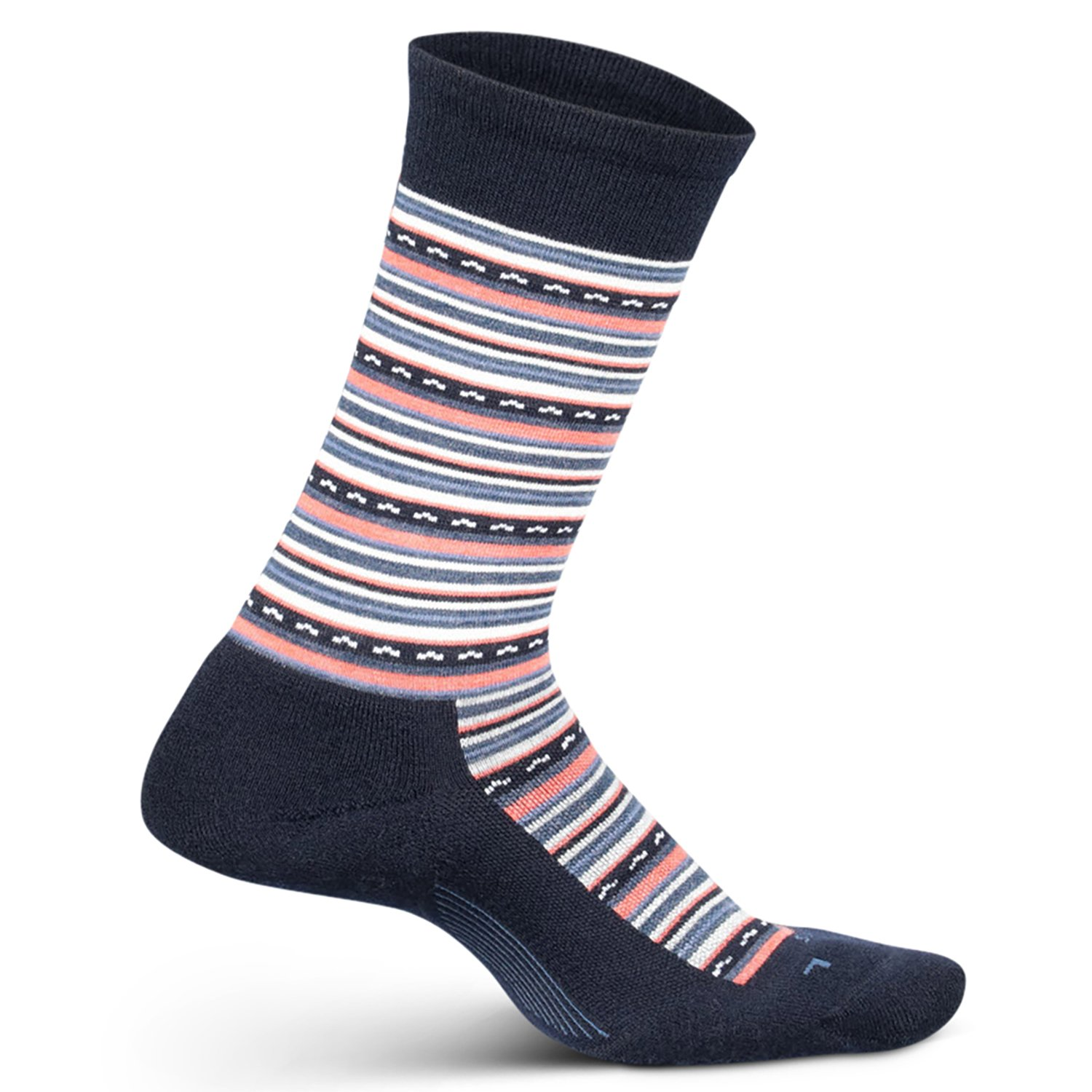 Size Small Feetures Womens Everyday Moisture Wicking Dress Sock Navy Horizon Cushion Crew