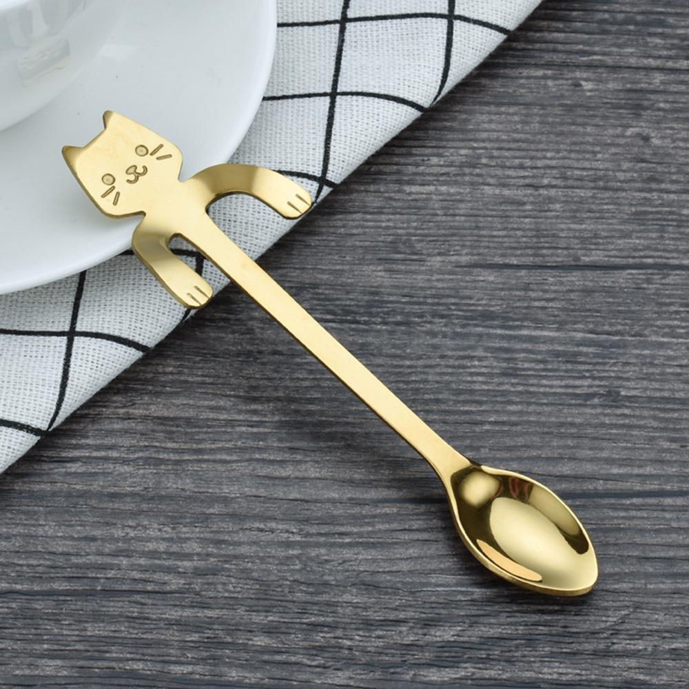 Doré Silver Leegoal 4pcs Cuillère à café Mini Chat en acier inoxydable à Cuillères à Dessert Cuillères à thé Cuillères à Café TM