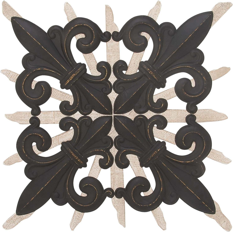 "Deco 79 98164 Fleur-de-lis Metal Wall Decor, 58"" x 58"", Black/Bronze/Gray"