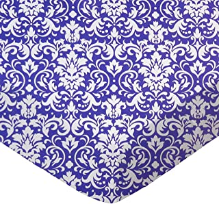 product image for SheetWorld Fitted Sheet (Fits BabyBjorn Travel Crib Light) - Purple Damask - Made In USA