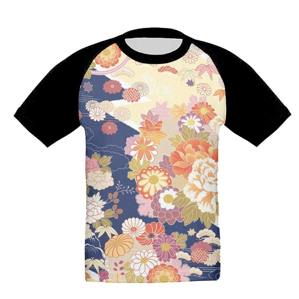 KissKid Traditional Kimono Motifs Composition Asian Ethnic Floral Patterns Vintage Artwork Baby 3D Short Sleeve Raglan Tshirt