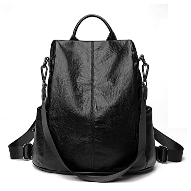 Amazon.com: FuDai Fashion Backpack PU Leather Casual Shoulder Bags Large Capacity Mochila for School College Work Business: Shoes