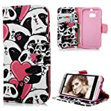 HTC One M8 Case Cover - Lanveni PU Leather Wallet Flip Cover Bookstyle Cell Phone Hoslter with Printing Design & Magnetic Closure & Card Slots & Stand Function Protective Cover for HTC One M8 , Pattern-2