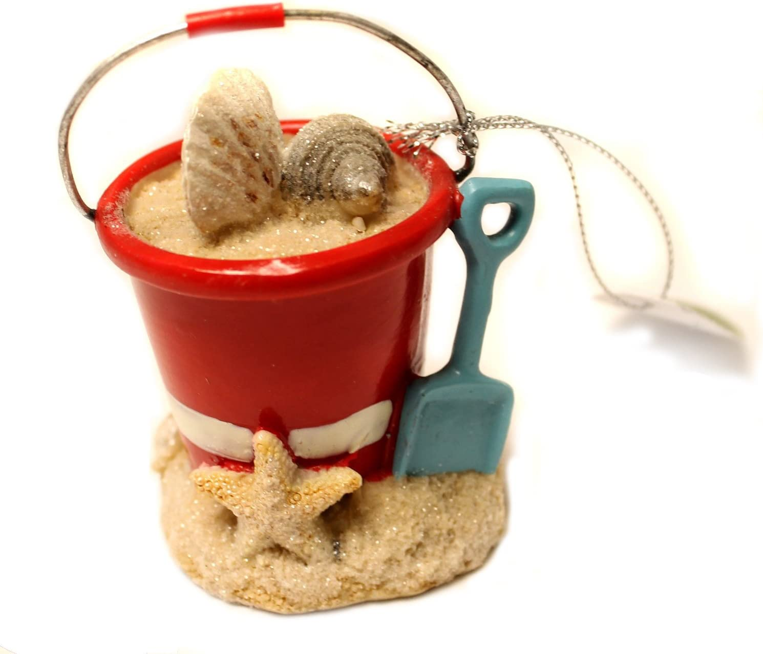 Midwest-CBK Christmas Decoration 3 Inch Beach Pail with Shells and Shovel Christmas Ornament