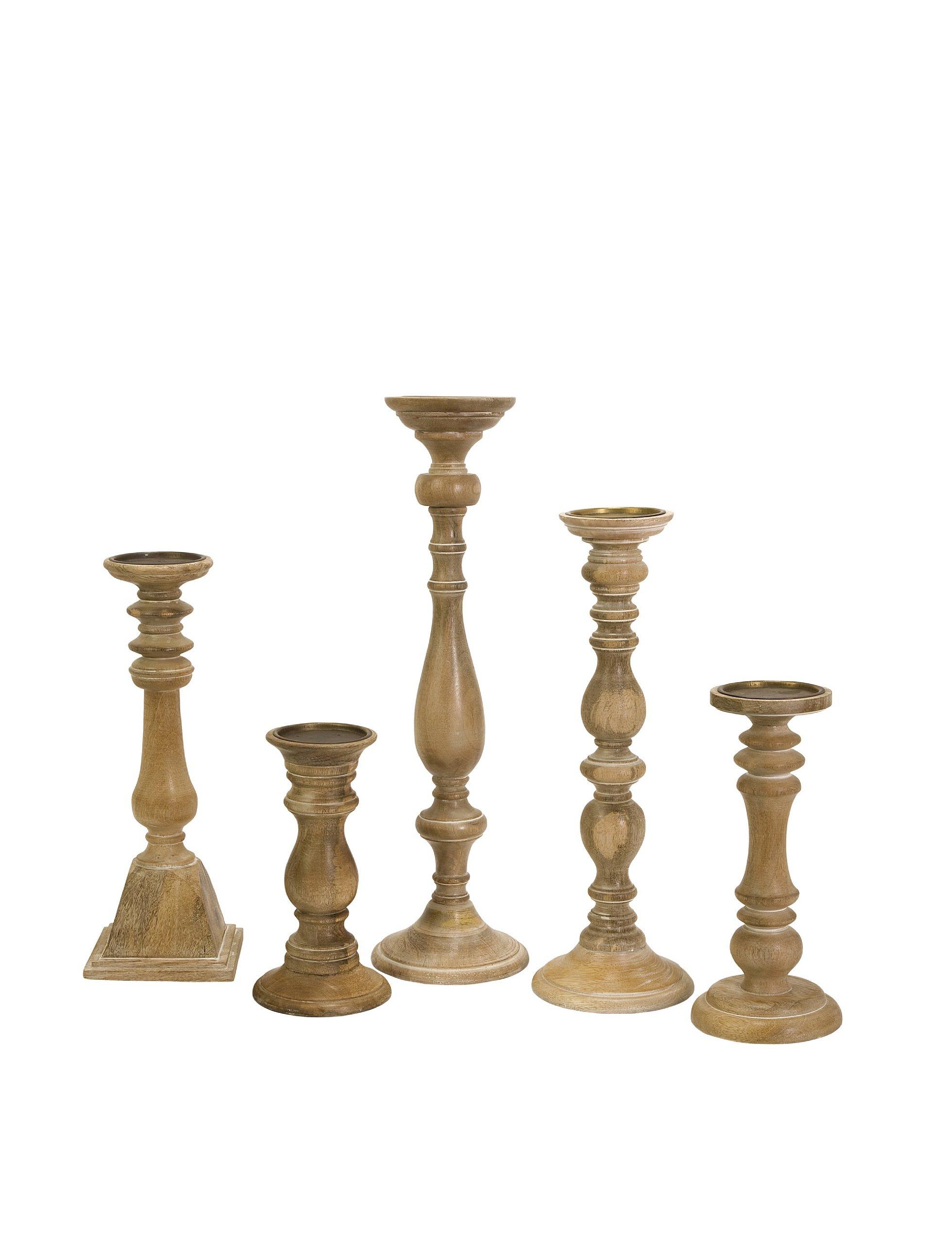 IMAX Mason Natural Wash Wood Candleholders, Set of 5 by Imax (Image #1)