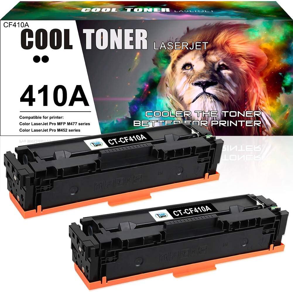 Cool Toner Compatible Toner Cartridge Replacement for HP 410A CF410A 410X CF410X HP Laserjet Pro MFP M477fnw M477fdw M477fdn M452dn M452dw M452nw M377dw M477 M452 Printer Ink Toner (Black, 2-Pack)