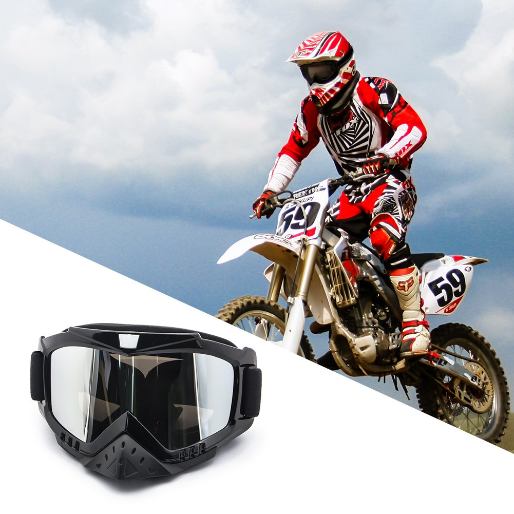 4-FQ Motorcycle Goggles Dirt Bike Goggles Bendable Anti UV Safety Snow Skiing Unisex Goggles Windproof Dustproof Scratch-Resistant Anti-fog Motocross Goggles(Color Sliver)