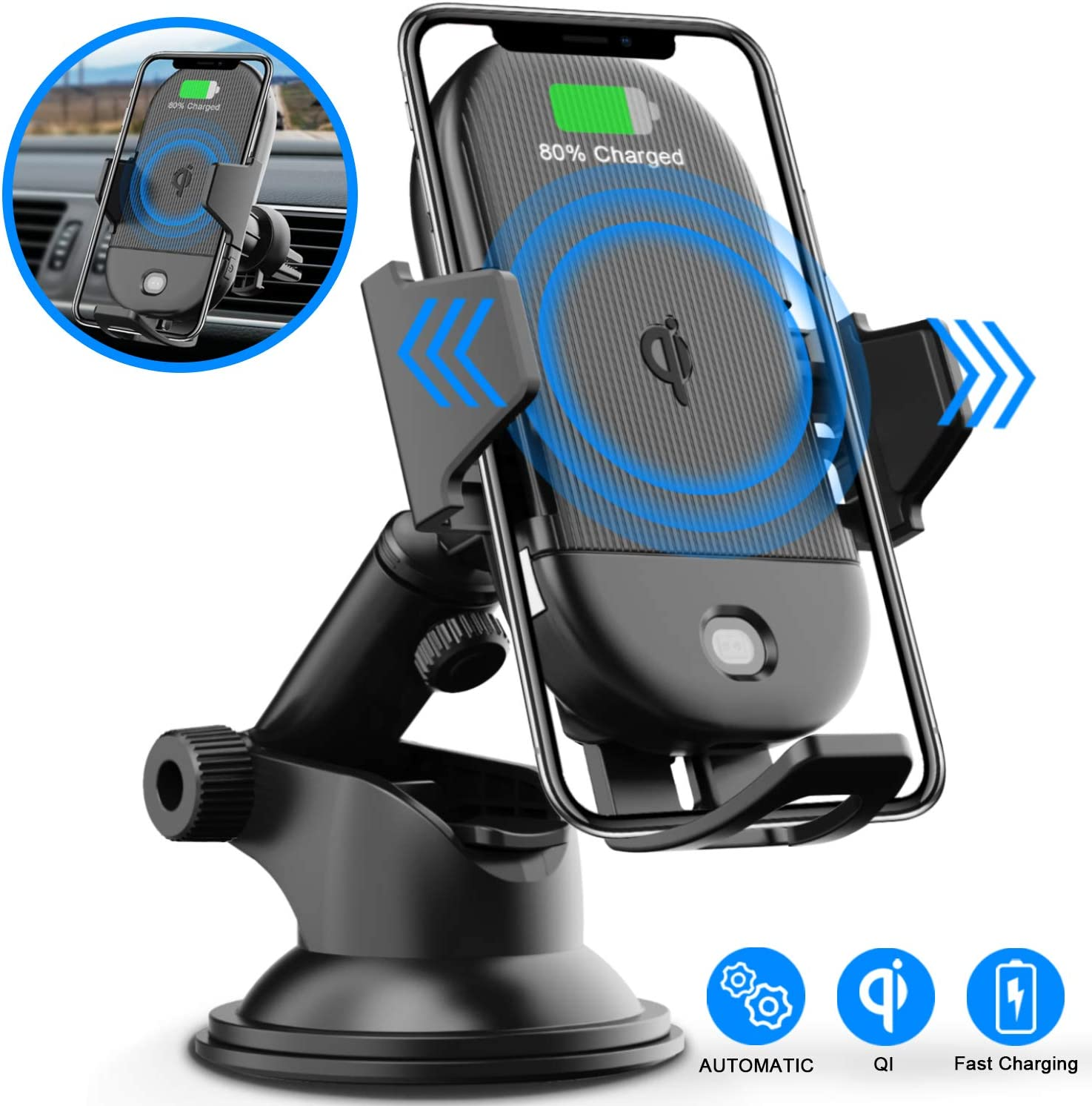 LETSCOM Wireless 15W Qi Fast Charging Car Mount Charger