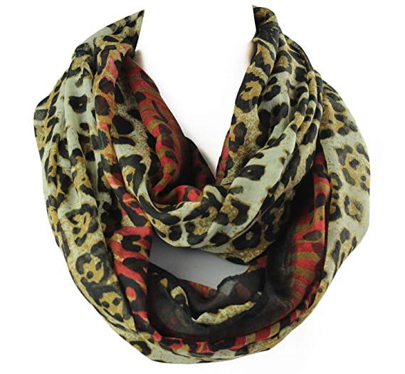 a4e22baf5 Infinity Scarf for Women Soft Light Weight Loop Circle Neck Wrap Scarves  Solid Color (Leopard
