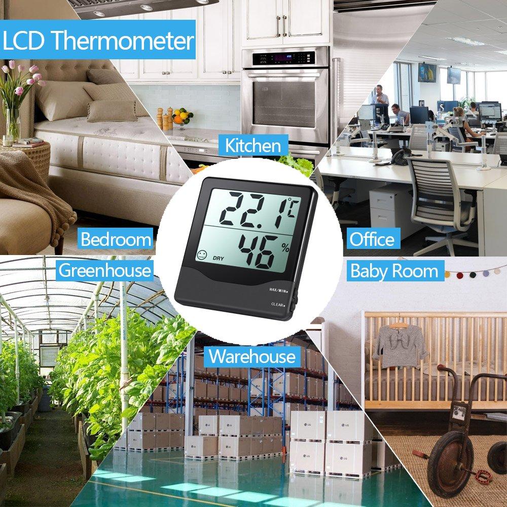 oficina AMIR Indoor Digital Higr/ómetro Term/ómetro Negro sal/ón higr/ómetro digital etc. de higrometr/ía Term/ómetro Higr/ómetro con min//max y pantalla LCD para dormitorio