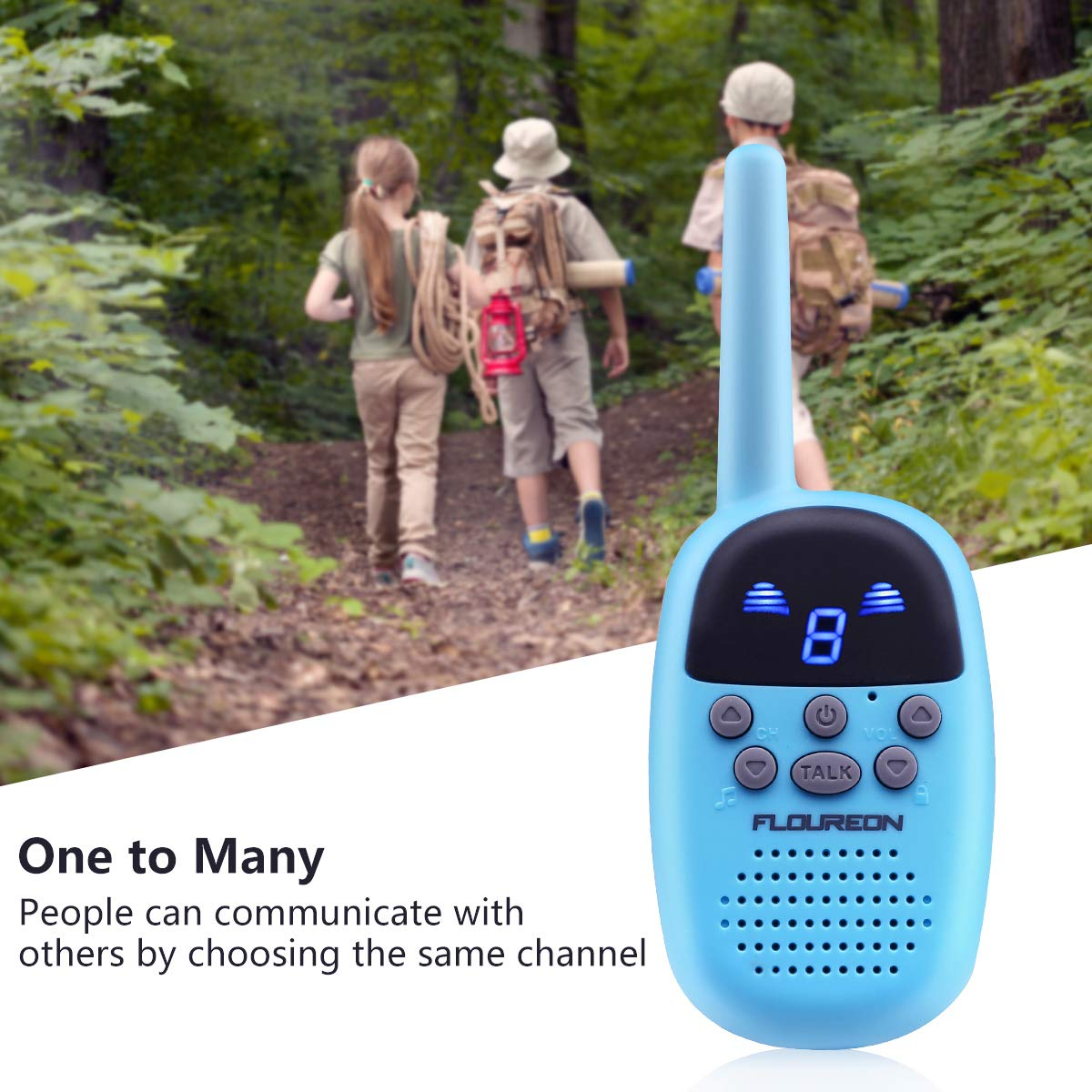 Spronto Kids Walkie Talkies 9 Channel Two Way Radio Twins Walkie Talkies FRS/GMRS Handheld Interphone Long Range for Trips Outdoor Activities (Blue) by Spronto (Image #4)