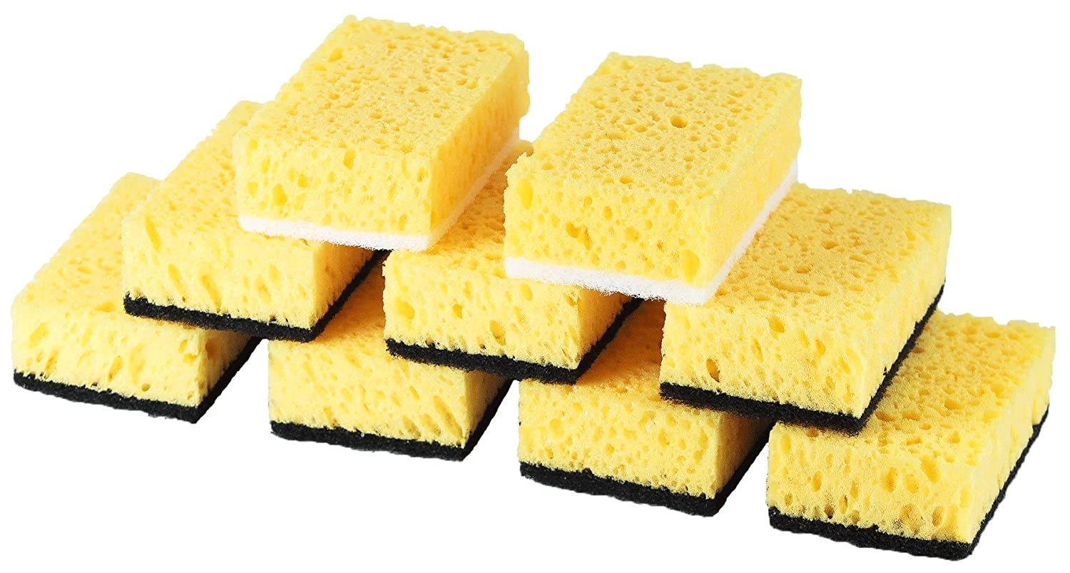 Okleen Multi Use Scrub Sponge For Daily Cleaning. Made in Europe. 9 Pack, 4.3x2.8x1.4 inches. Odorless Heavy Duty and Non Scratch Fiber. Durable and Delicate Scrubber of Hard Dirty Surfaces of Kitchen