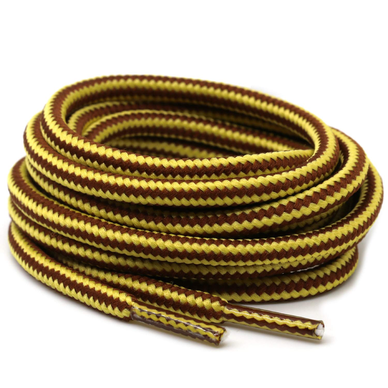 DELELE 2 Pair Strong Boot Laces Hiking Walking Boot Shoelaces Round Rope Dual Coloured Striped Shoe Lace Strings