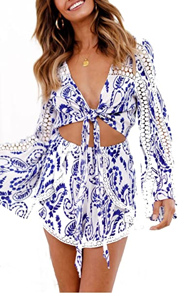 bf75860c94d2a Amazon.com: Women's Boho Floral Printed V Neck Self Tie Front Romper Long Flare  Sleeve Short Jumpsuits Playsuit: Clothing