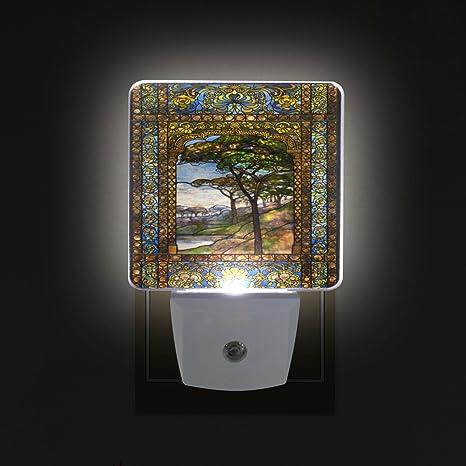 Alirea Stained Glass Windows Plug In Led Night Light Auto Sensor