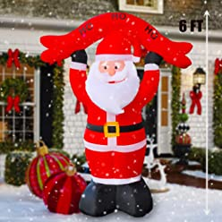 RETRO JUMP 8 FT Christmas Inflatable Santa Claus Greeting LED Light Up Giant Christmas Blow-Up Yard Party Decoration for New Year Holiday Inflatable Outdoor Indoor Family Prop for Home Yard Garden