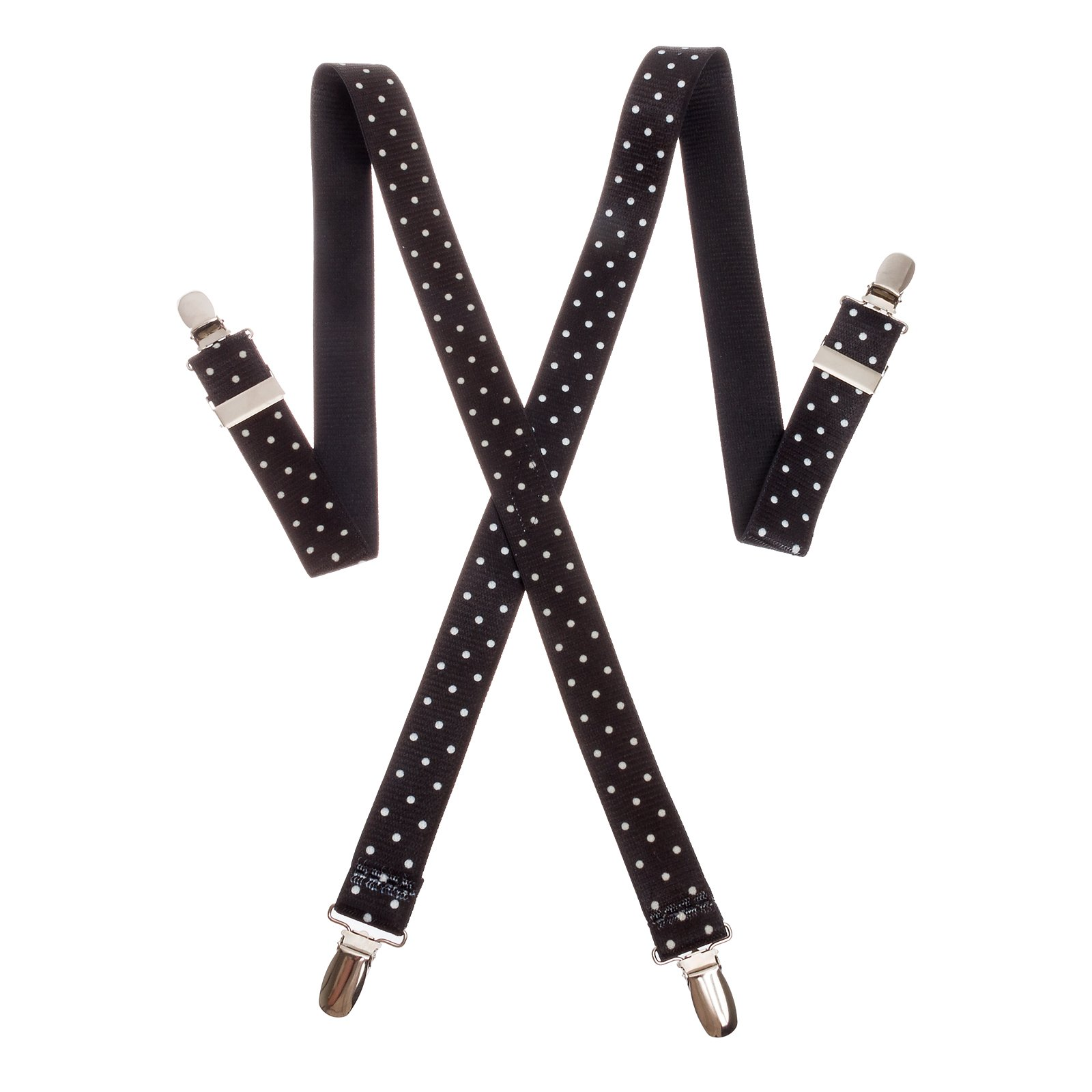 Suspender Factory 30'' Children's Elastic Suspenders (Black & White Polka Dot)