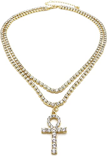 Yellow Gold-Tone Hip Hop Bling Iced Out Rose Flower Pendant with 16 Tennis Chain and 24 Rope Chain