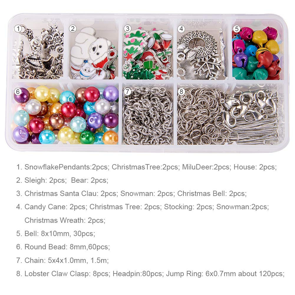 SUNNYCLUE 1 Set Crystal Christmas Bead Earring Making Kits DIY 6 Pairs White Snowman Red Angel Glass Bead Christmas Tree Dangle Earrings