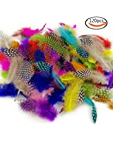 """JPSOR 120pcs 3""""-6"""" Colorful Spotted Feathers for DIY Craft, Jewelry and Clothing Decoration, 10 Colors"""