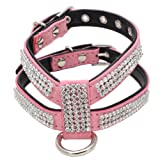 DOGGYZSTYLE Bling Rhinestone PU Leather Dog Harness & Leash Set for Cute Small Medium Size Cats or Dogs Puppy Chihuahua Poodle Shih Tzu