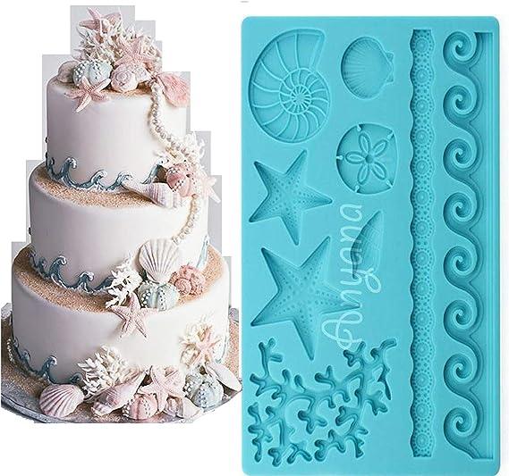 Sea Shell Silicone Fondant Mould Cake Sugarcraft Starfish Molds Decorating D4S5