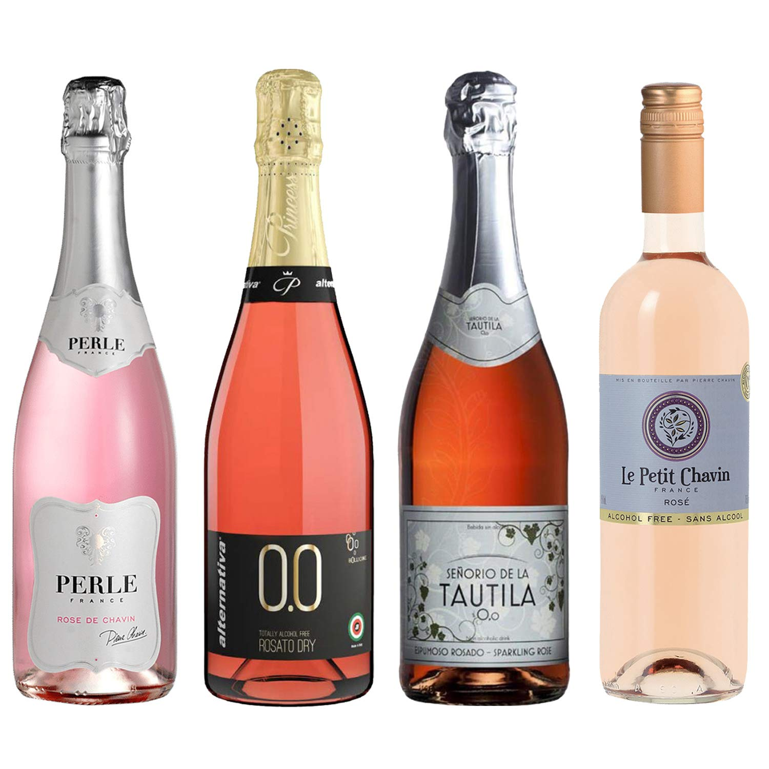 Rose Wine Sampler - Four (4) Non-Alcoholic Wines 750ml Each - Pierre Chavin Perle Rose, Princess Bollicine Rosato Extra Dry, Tautila Espumoso Rosado, and Le Petit Chavin Rose. by Various Wineries (Image #1)
