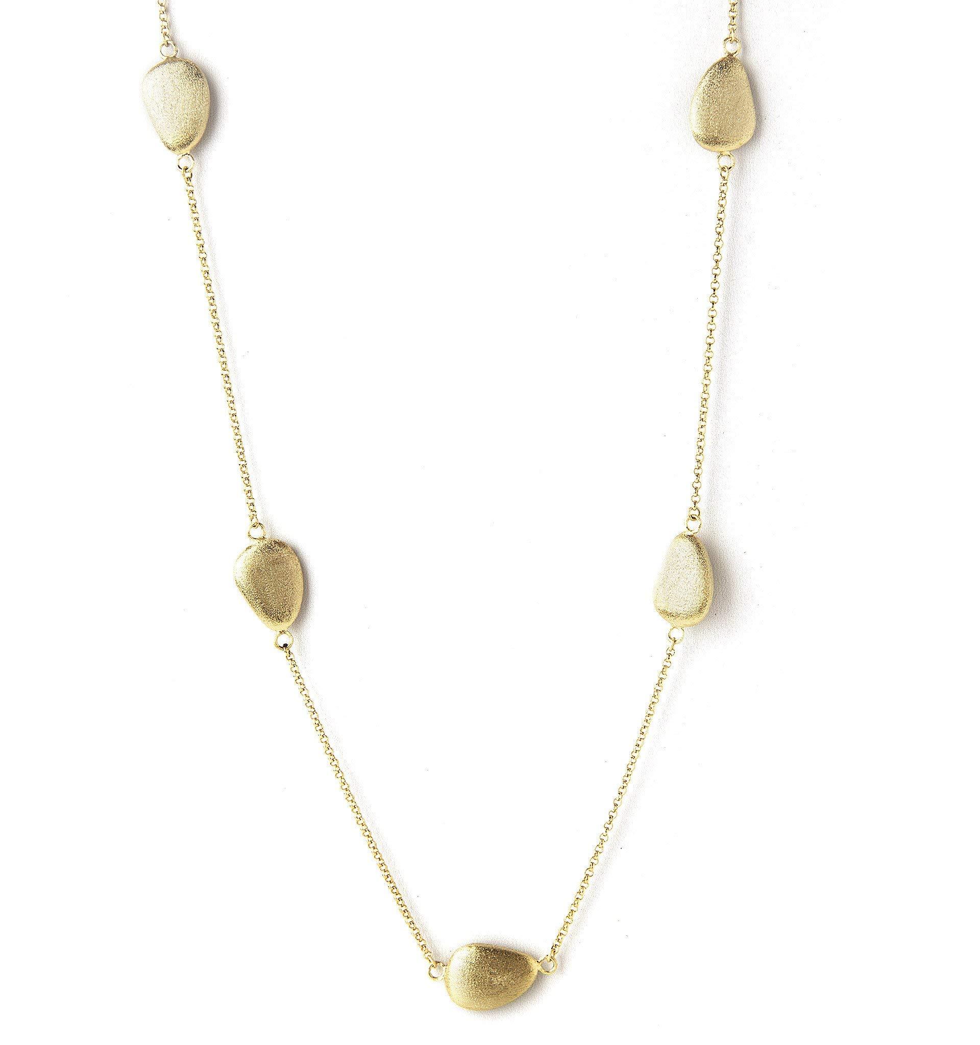 Rivka Friedman 18K Gold Clad Satin Pebble Station Necklace