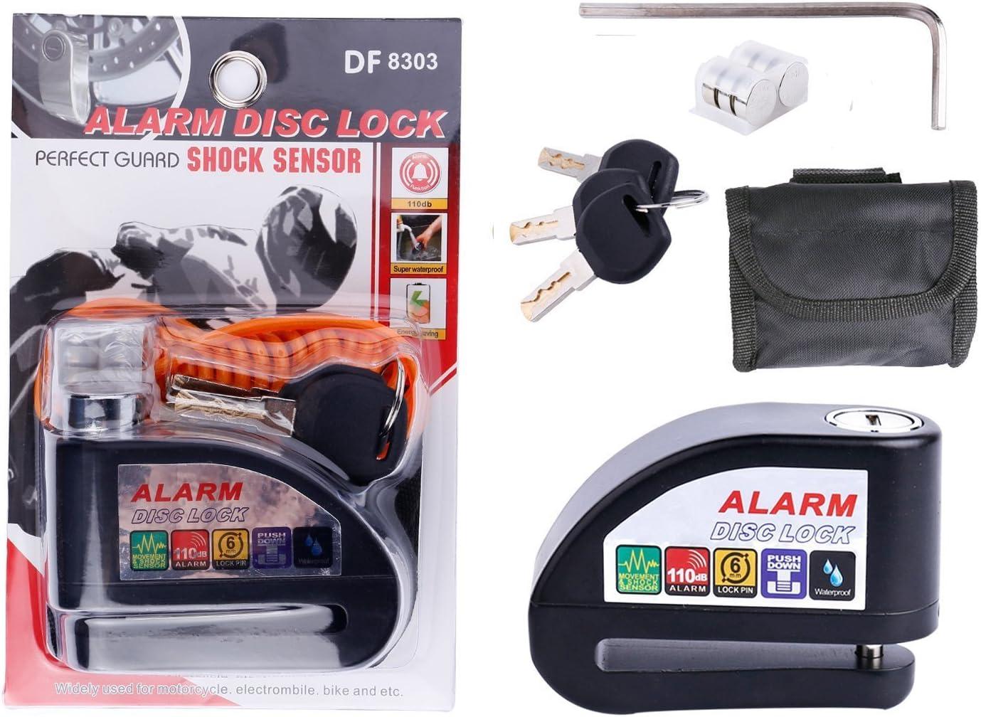 Negro con estuche y cable 1,5 m Antirrobo para moto con pasador 6mm Candado de moto de acero con alarma de 110db pilas incluidas EZTECH Candado de disco con alarma y RESISTENTE AL AGUA