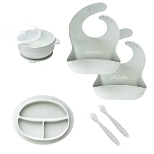 Ullabelle Silicone Bib for Boys and Girls (7 Piece Set of Bibs, Sage)