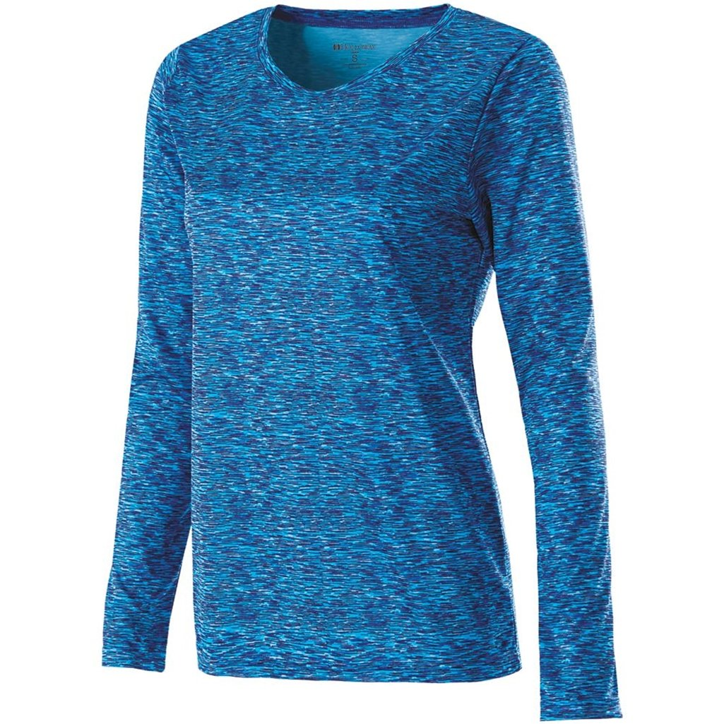 Holloway Ladies Space Dye Long Sleeve Semi Fitted Dry-Excel Shirt (Medium, Blue)