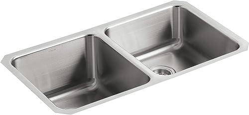 KOHLER K-3351-NA Undertone Double Equal Undercounter Kitchen Sink, Stainless Steel