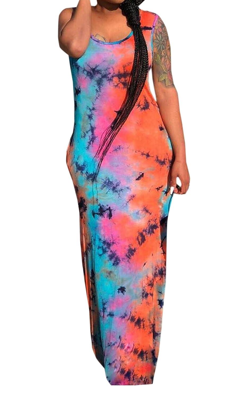 Sommer Lang Kleid Damen Freizeit Ärmellos Kleider Strandkleider Mode Druck Kleider  Maxikleid Wickelkleider Partykleider Abendkleider Cocktailkleid  ... b5bdab7146