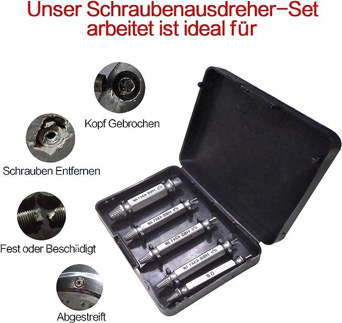 5tlg Schraubenausdreher Set Entfernen beschädigter Schraubenentferner 8mm KG