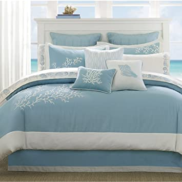 Harbor House Coastline Queen Size Bed Comforter Set - Blue, Jacquard  Coastal Coral – 4 Pieces Bedding Sets – 100% Cotton Bedroom Comforters
